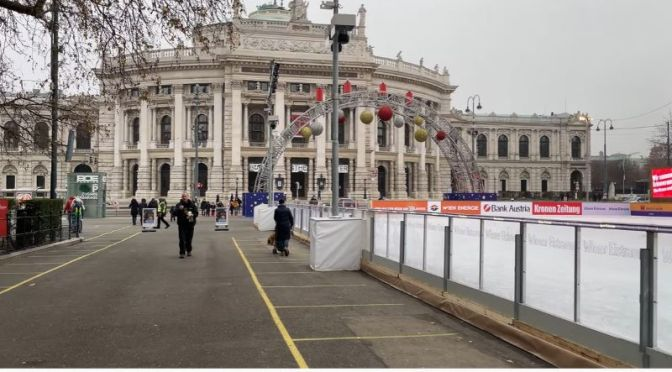 Walking Tours: 'Ice Skate Rink' Rathausplatz, City Hall, Vienna (Video)