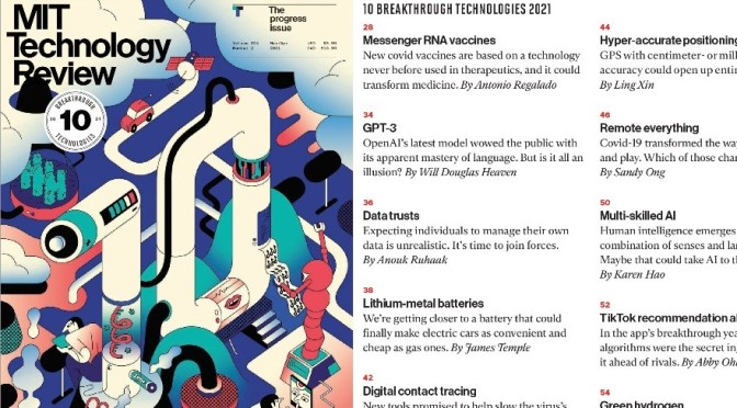 MIT Technology Review: The 'Top 10 Breakthrough Technologies' (Mar 2021)