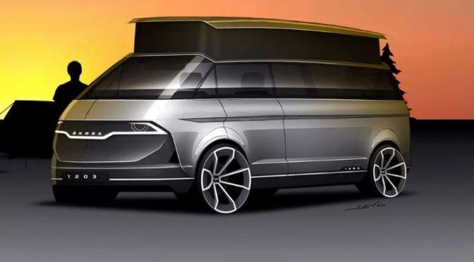Design: 'ŠKODA 1203' Made Over As Electric Camper Van With Pop Top Roof