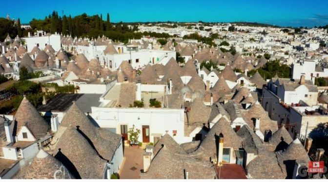 Aerial Views: The Conical Roofed 'Trulli' Cottages Of Alberobello, Italy (4K)