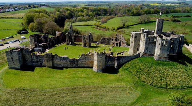Aerial Views: Warkworth Castle, England (4K Video)