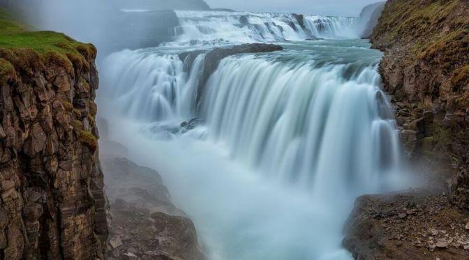 Aerial Travel: Gullfoss Waterfall In Iceland (4K)