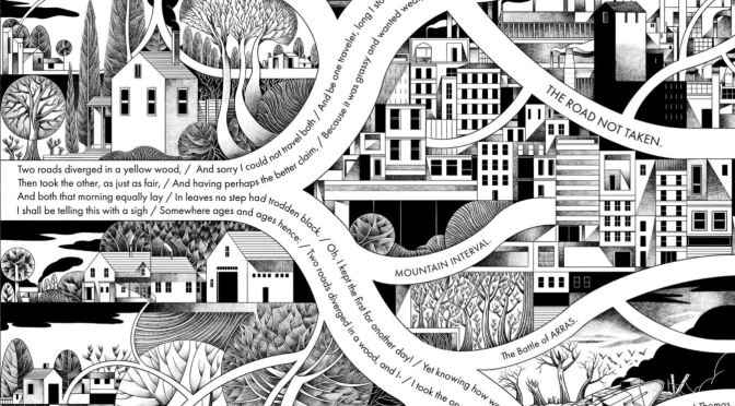 """Poems: Robert Frost's """"The Road Not Taken"""" As Drawn By Sergio Garcia Sanchez"""