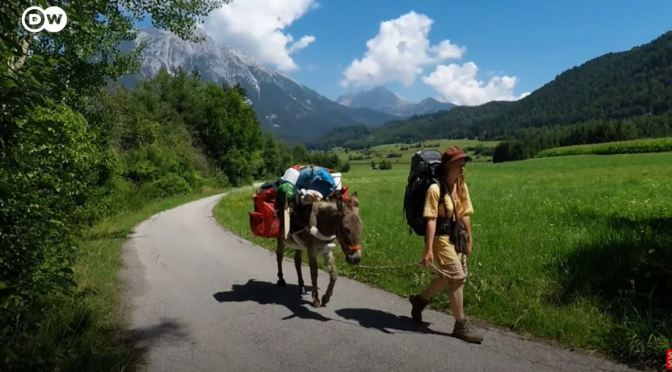 Views: German Actress Hikes Alps With A Donkey