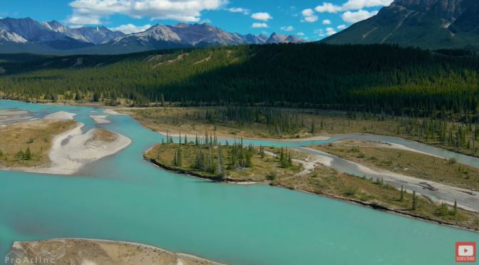 Aerial Views: Cline River, Alberta, Canada (4K)