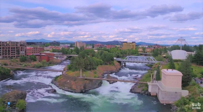 Aerial City Views: Spokane – Eastern Washington (4K)