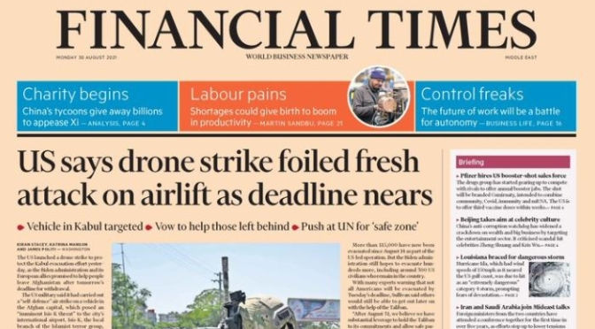 Front Page Views: The Financial Times – Aug 30
