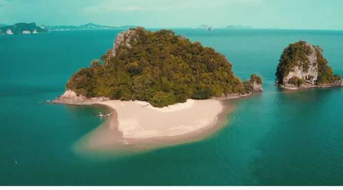 Aerial Views: Koh Khai Nok Island In  Thailand (4K)